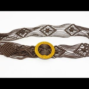 """Braided Belt with Wooden Round Buckle 44"""" Long"""